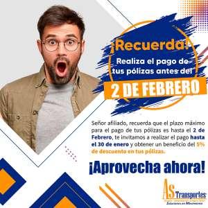PAGO DE POLIZAS ANTES DEL 2 DE FEBRERO 2