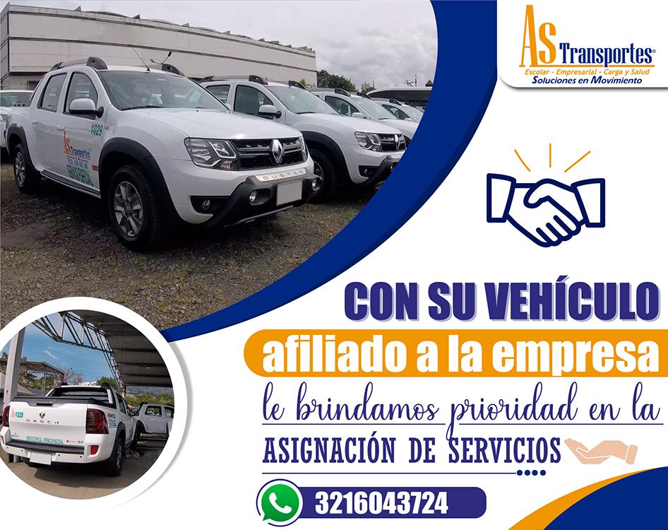 Con su vehículo afiliado a la empresa le brindamos prioridad en la asignación de servicios